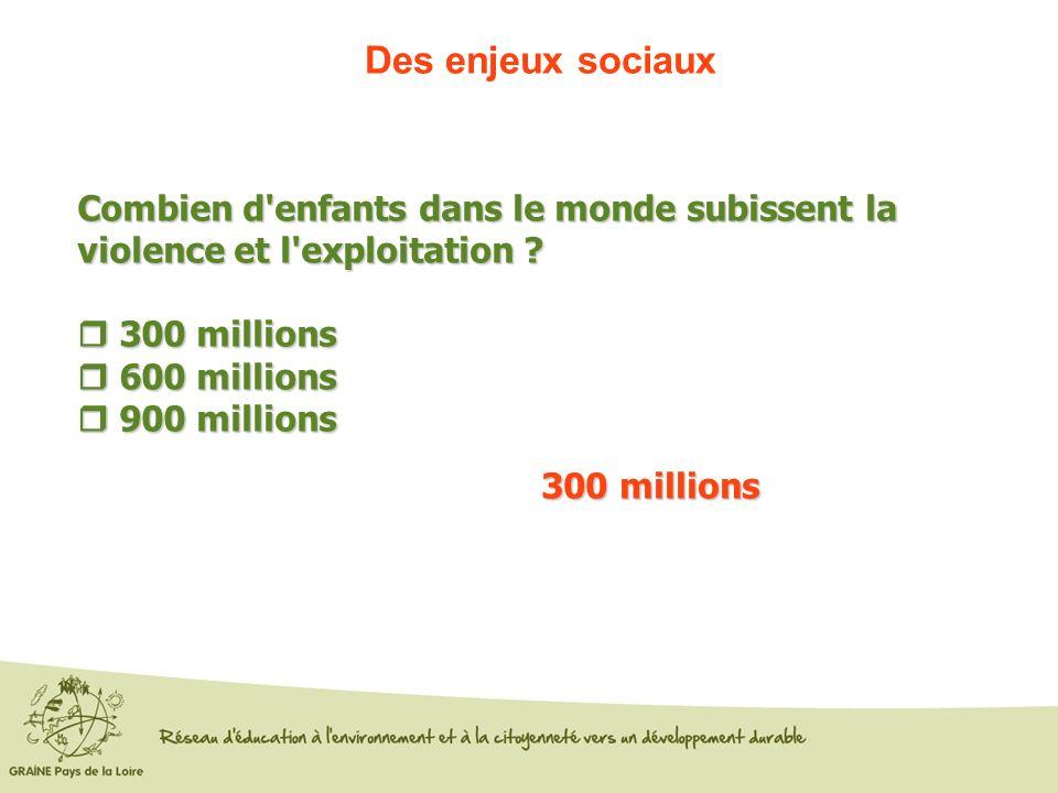 Des enjeux sociaux Combien d'enfants dans le monde subissent la violence et l'exploitation ? 300 millions 300 millions 600 millions 600 millions 900 m