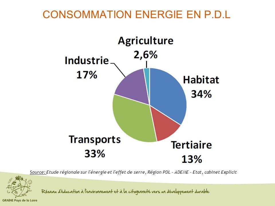 CONSOMMATION ENERGIE EN P.D.L Consommation d'énergie en 2006 Source: Etude régionale sur l'énergie et l'effet de serre, Région PDL – ADEME – Etat, cab