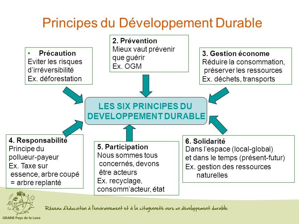 Précaution Eviter les risques dirréversibilité Ex. déforestation 2. Prévention Mieux vaut prévenir que guérir Ex. OGM 3. Gestion économe Réduire la co