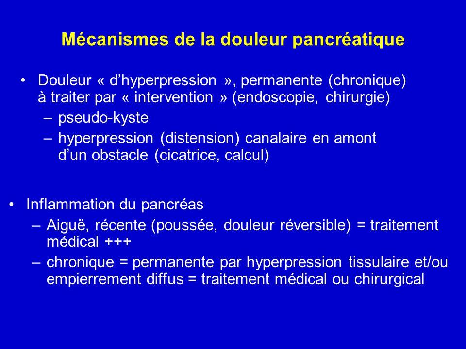 Mécanismes de la douleur pancréatique Douleur « dhyperpression », permanente (chronique) à traiter par « intervention » (endoscopie, chirurgie) –pseud