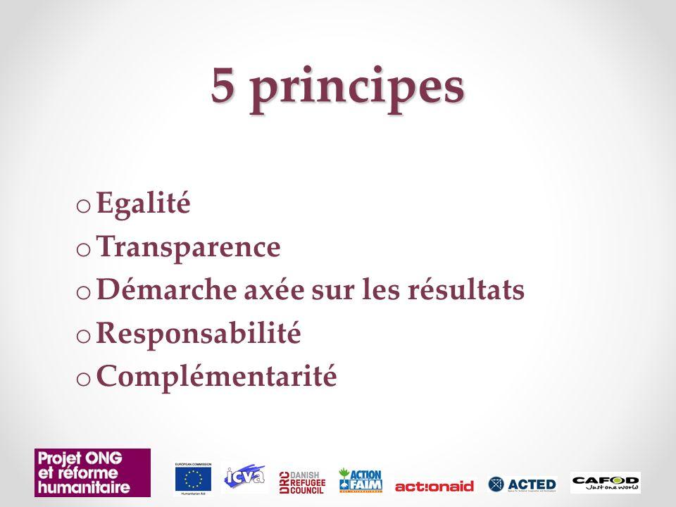 5 principes o Egalité o Transparence o Démarche axée sur les résultats o Responsabilité o Complémentarité