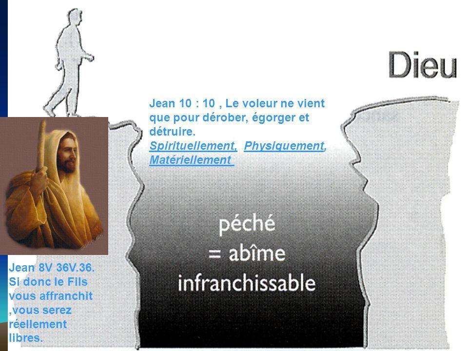 Jean 10 : 10, Le voleur ne vient que pour dérober, égorger et détruire. Spirituellement, Physiquement, Matériellement Jean 8V 36V.36. Si donc le Fils