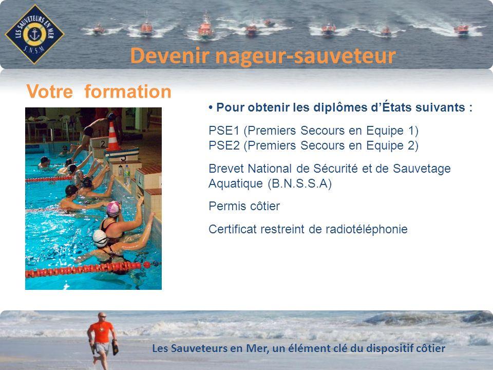 Les Sauveteurs en Mer, un élément clé du dispositif côtier Conforter notre dynamique de développement Devenir nageur-sauveteur Votre formation Pour ob