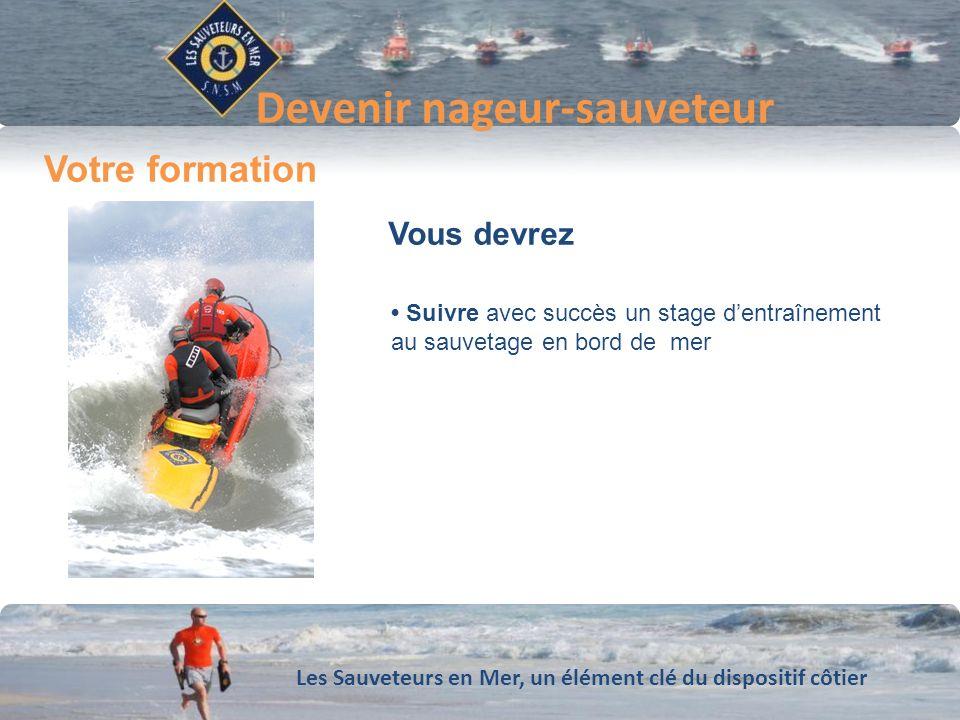 Les Sauveteurs en Mer, un élément clé du dispositif côtier Conforter notre dynamique de développement Devenir nageur-sauveteur Suivre avec succès un s
