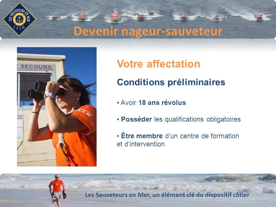 Les Sauveteurs en Mer, un élément clé du dispositif côtier Conforter notre dynamique de développement Devenir nageur-sauveteur Votre affectation Condi