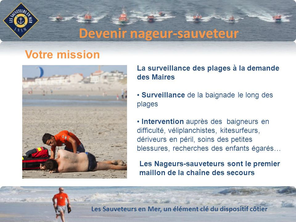 Les Sauveteurs en Mer, un élément clé du dispositif côtier Conforter notre dynamique de développement Devenir nageur-sauveteur La surveillance des pla