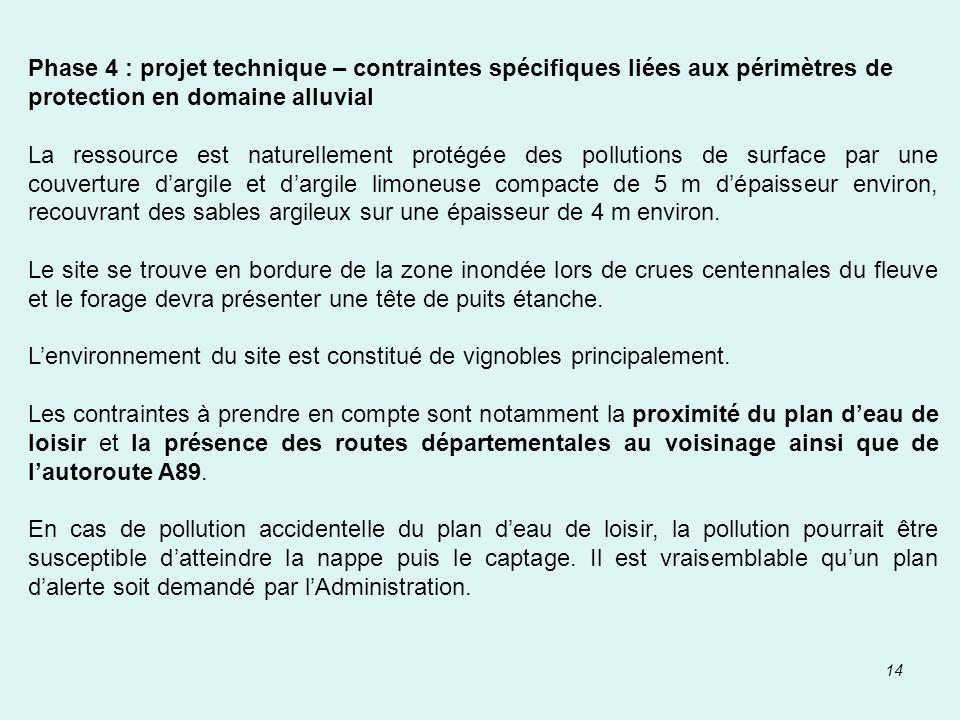 14 Phase 4 : projet technique – contraintes spécifiques liées aux périmètres de protection en domaine alluvial La ressource est naturellement protégée