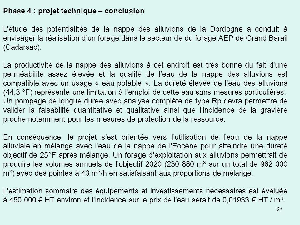 21 Phase 4 : projet technique – conclusion Létude des potentialités de la nappe des alluvions de la Dordogne a conduit à envisager la réalisation dun