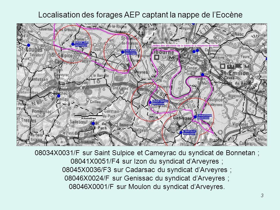 3 Localisation des forages AEP captant la nappe de lEocène 08034X0031/F sur Saint Sulpice et Cameyrac du syndicat de Bonnetan ; 08041X0051/F4 sur Izon