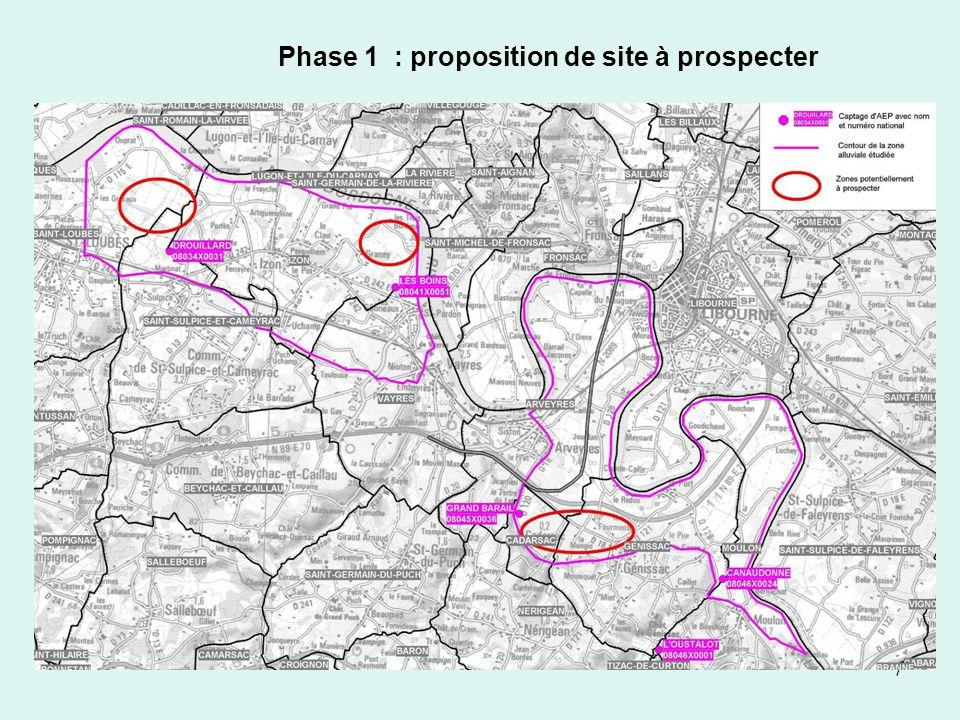 7 Phase 1 : proposition de site à prospecter