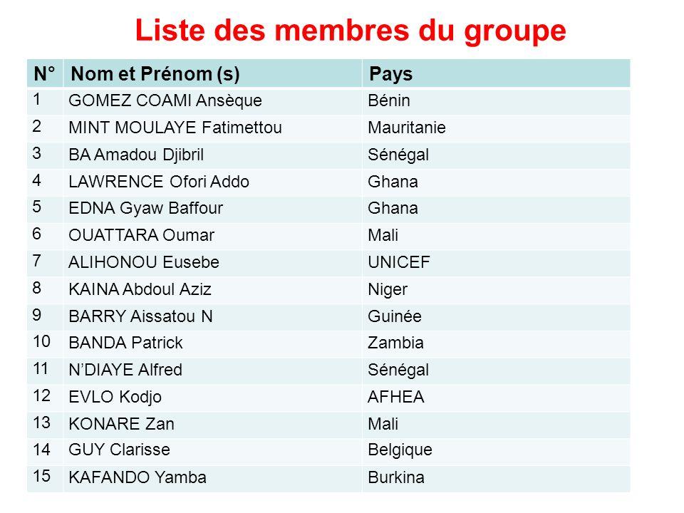 Liste des membres du groupe N°Nom et Prénom (s)Pays 1 GOMEZ COAMI AnsèqueBénin 2 MINT MOULAYE FatimettouMauritanie 3 BA Amadou DjibrilSénégal 4 LAWREN