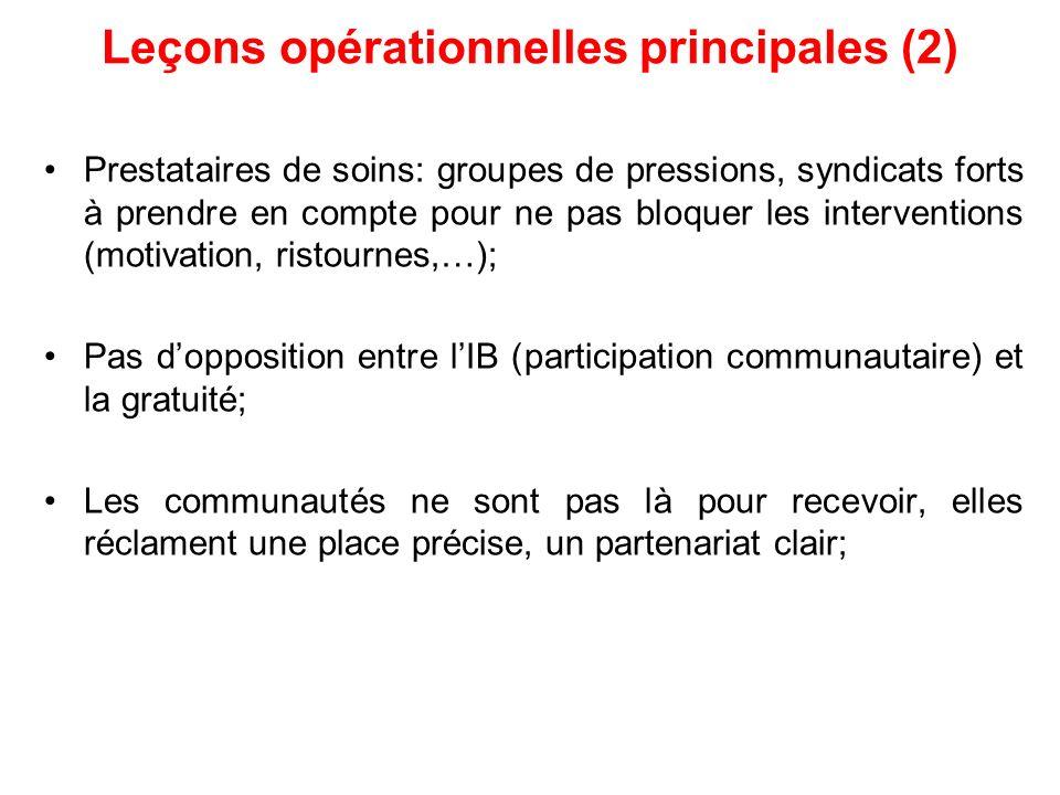 Leçons opérationnelles principales (2) Prestataires de soins: groupes de pressions, syndicats forts à prendre en compte pour ne pas bloquer les interv