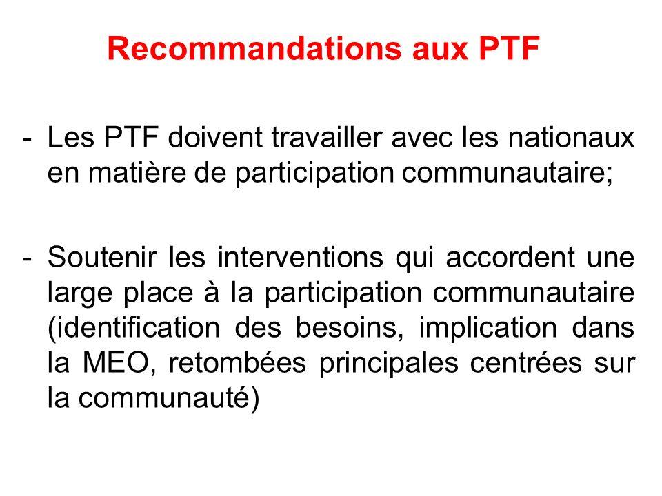 Recommandations aux PTF -Les PTF doivent travailler avec les nationaux en matière de participation communautaire; -Soutenir les interventions qui acco