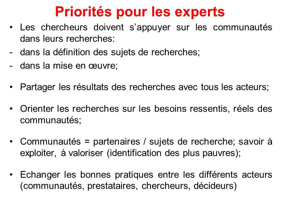 Priorités pour les experts Les chercheurs doivent sappuyer sur les communautés dans leurs recherches: -dans la définition des sujets de recherches; -d