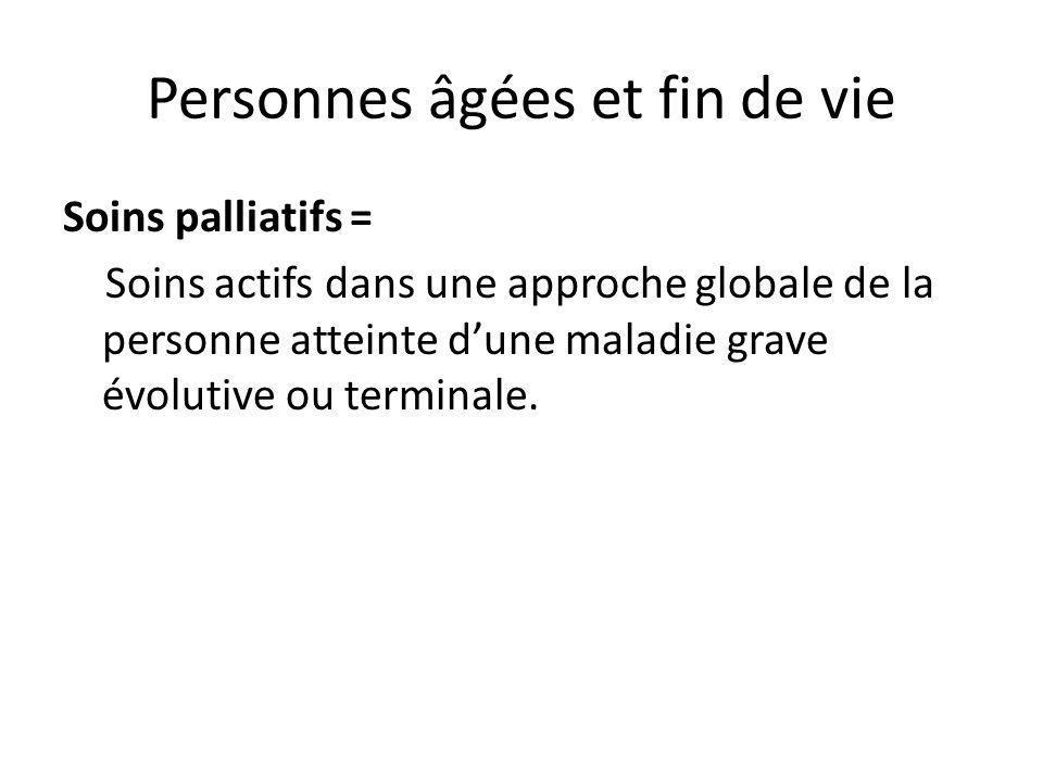 Personnes âgées et fin de vie Soins palliatifs = Soins actifs dans une approche globale de la personne atteinte dune maladie grave évolutive ou termin