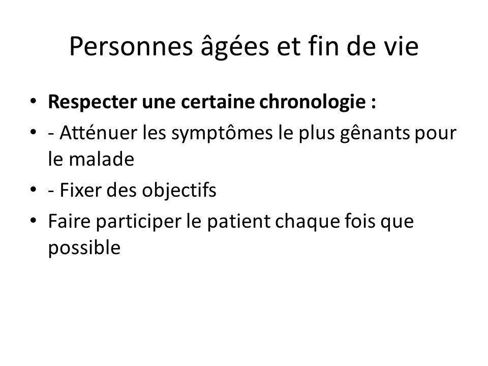 Personnes âgées et fin de vie Respecter une certaine chronologie : - Atténuer les symptômes le plus gênants pour le malade - Fixer des objectifs Faire