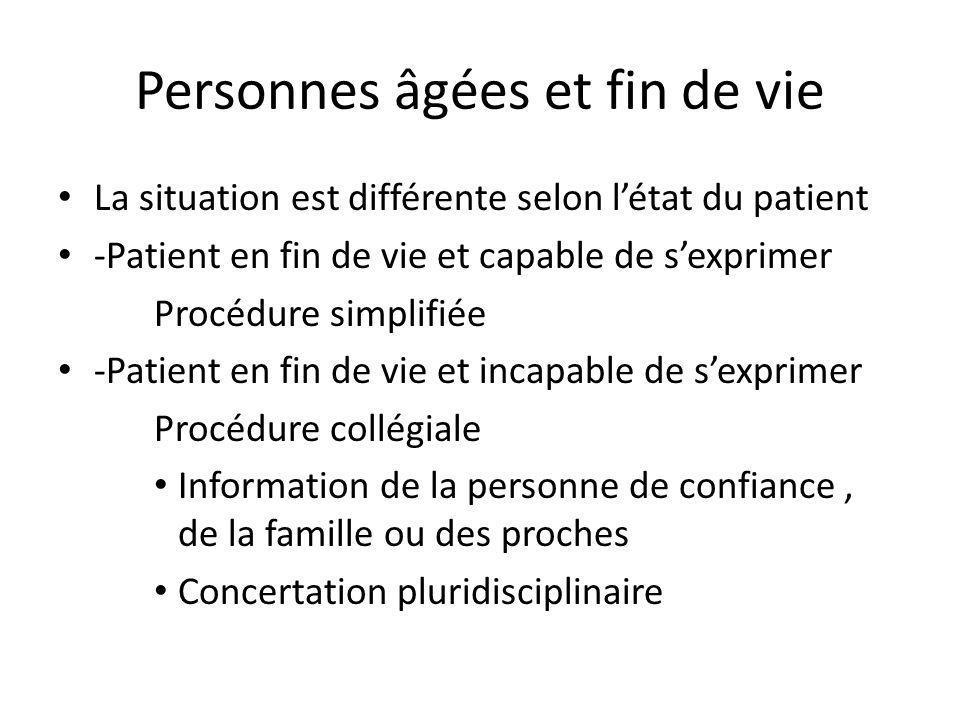 Personnes âgées et fin de vie La situation est différente selon létat du patient -Patient en fin de vie et capable de sexprimer Procédure simplifiée -