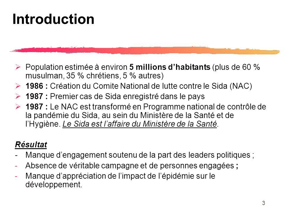 3 Introduction Population estimée à environ 5 millions dhabitants (plus de 60 % musulman, 35 % chrétiens, 5 % autres) 1986 : Création du Comite National de lutte contre le Sida (NAC) 1987 : Premier cas de Sida enregistré dans le pays 1987 : Le NAC est transformé en Programme national de contrôle de la pandémie du Sida, au sein du Ministère de la Santé et de lHygiène.