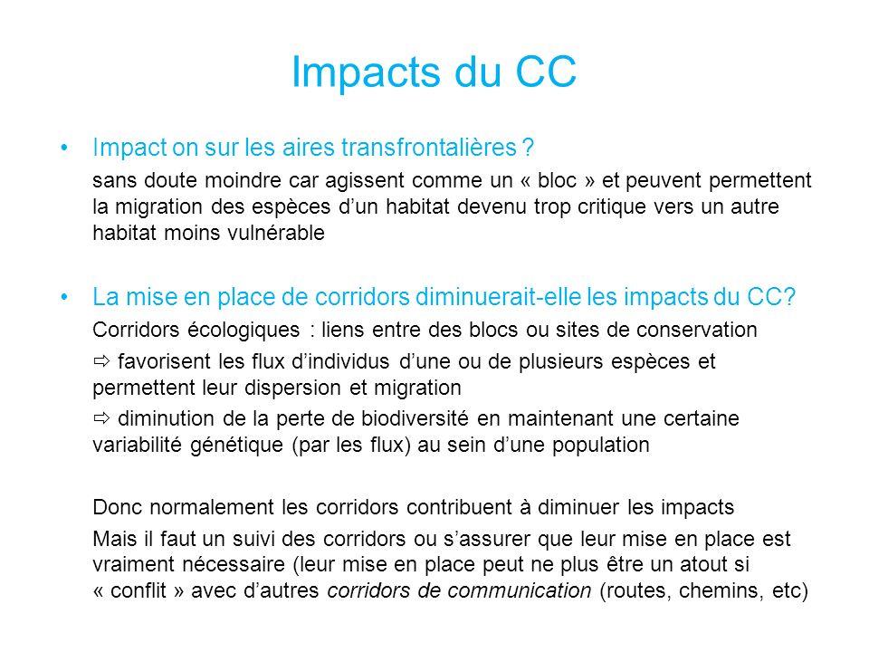 Impacts du CC Impact on sur les aires transfrontalières .