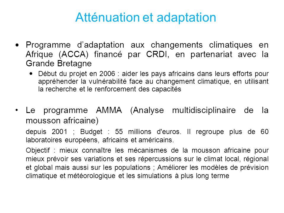 Atténuation et adaptation Programme dadaptation aux changements climatiques en Afrique (ACCA) financé par CRDI, en partenariat avec la Grande Bretagne Début du projet en 2006 : aider les pays africains dans leurs efforts pour appréhender la vulnérabilité face au changement climatique, en utilisant la recherche et le renforcement des capacités Le programme AMMA (Analyse multidisciplinaire de la mousson africaine) depuis 2001 ; Budget : 55 millions d euros.