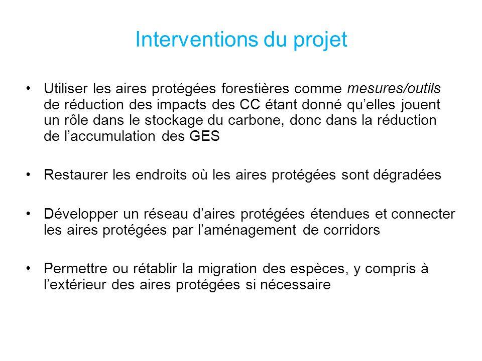 Interventions du projet Utiliser les aires protégées forestières comme mesures/outils de réduction des impacts des CC étant donné quelles jouent un rôle dans le stockage du carbone, donc dans la réduction de laccumulation des GES Restaurer les endroits où les aires protégées sont dégradées Développer un réseau daires protégées étendues et connecter les aires protégées par laménagement de corridors Permettre ou rétablir la migration des espèces, y compris à lextérieur des aires protégées si nécessaire
