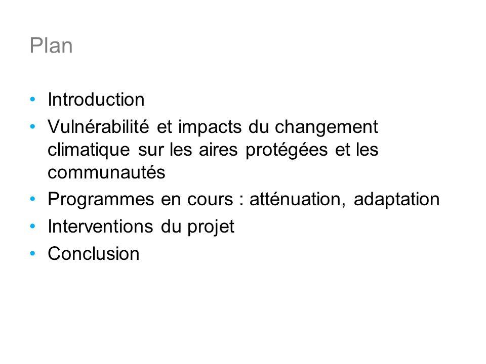 Plan Introduction Vulnérabilité et impacts du changement climatique sur les aires protégées et les communautés Programmes en cours : atténuation, adaptation Interventions du projet Conclusion