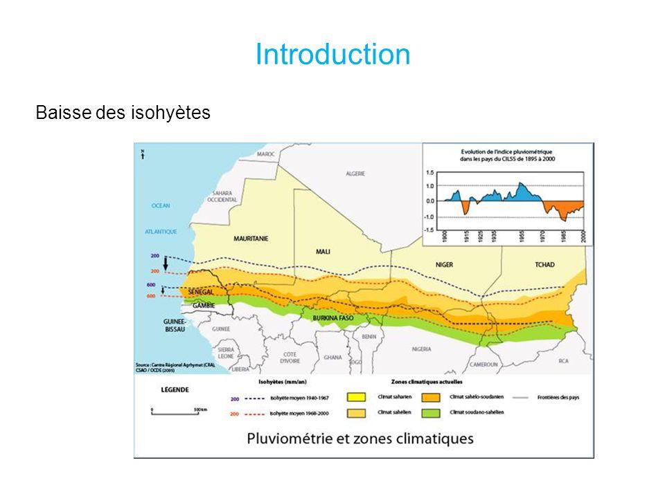 Introduction Baisse des isohyètes