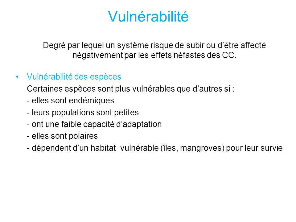 Vulnérabilité Degré par lequel un système risque de subir ou dêtre affecté négativement par les effets néfastes des CC.