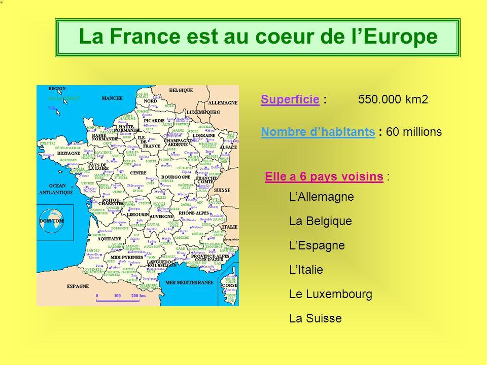 La France est au coeur de lEurope Superficie :550.000 km2 Nombre dhabitants : 60 millions Elle a 6 pays voisins : LAllemagne La Belgique LItalie Le Luxembourg La Suisse LEspagne