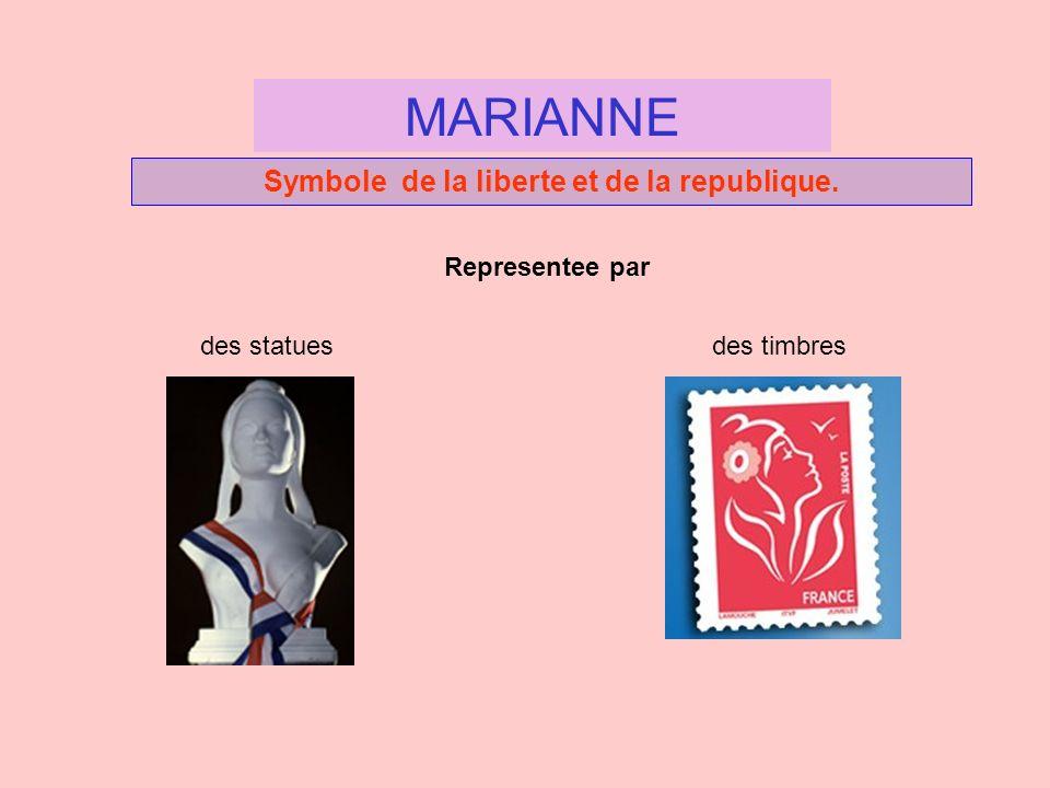 Symbole de la liberte et de la republique. MARIANNE Representee par des statuesdes timbres