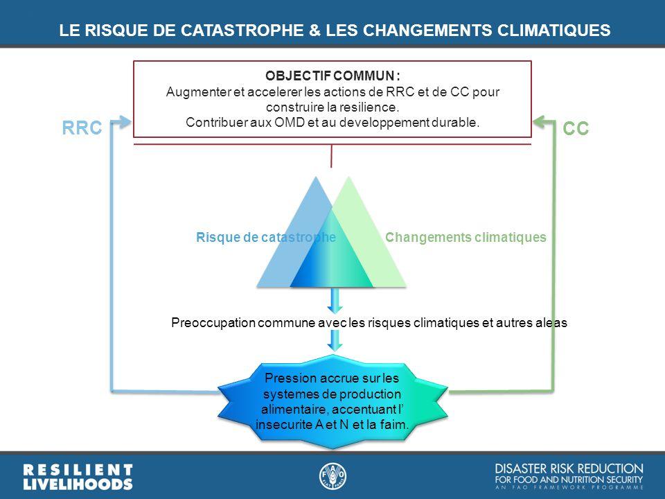 Risque de catastropheChangements climatiques Pression accrue sur les systemes de production alimentaire, accentuant l insecurite A et N et la faim. Pr