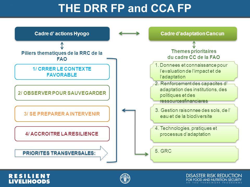 Cadre dadaptation Cancun 5. GRC Themes prioritaires du cadre CC de la FAO 1.Donnees et connaissance pour levaluation de limpact et de ladaptation 3. G