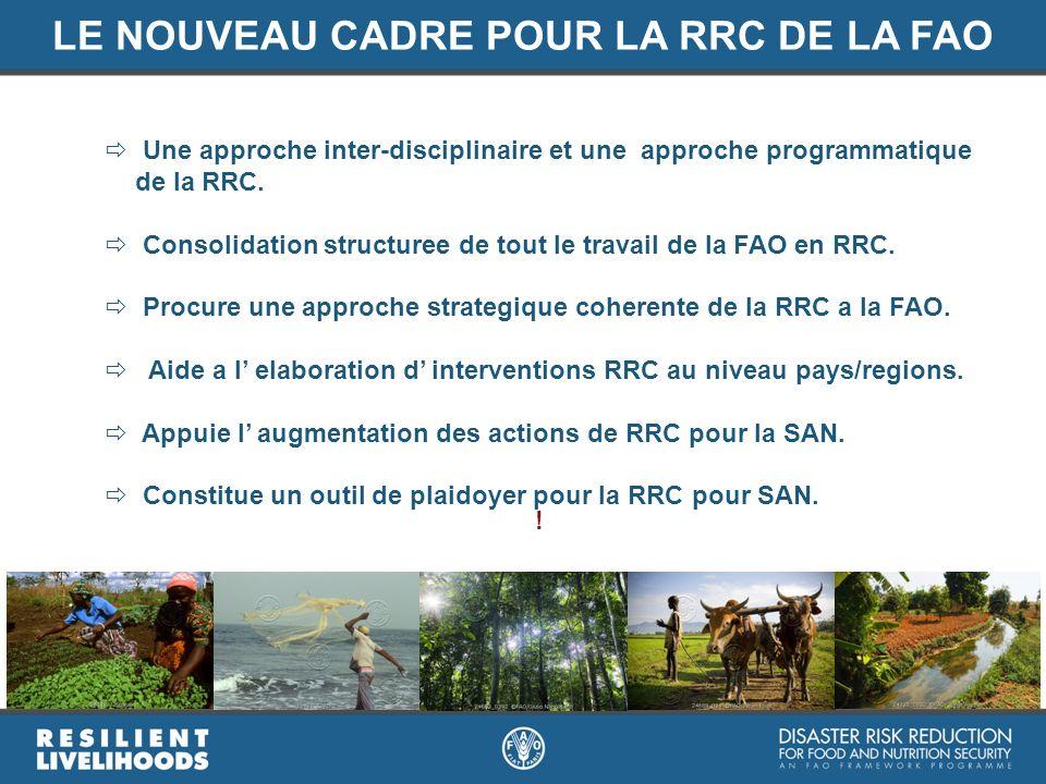 LE NOUVEAU CADRE POUR LA RRC DE LA FAO Une approche inter-disciplinaire et une approche programmatique de la RRC. Consolidation structuree de tout le