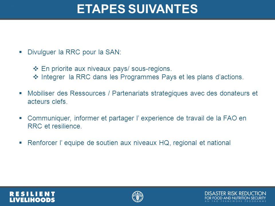 ETAPES SUIVANTES Divulguer la RRC pour la SAN: En priorite aux niveaux pays/ sous-regions. Integrer la RRC dans les Programmes Pays et les plans dacti