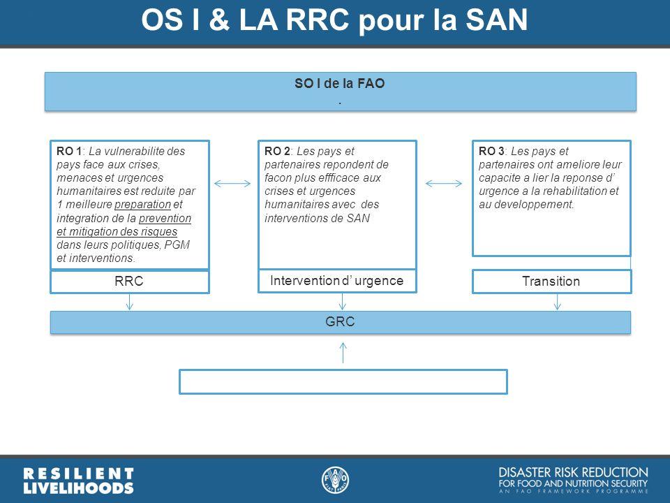 OS I & LA RRC pour la SAN SO I de la FAO. SO I de la FAO. RO 1: La vulnerabilite des pays face aux crises, menaces et urgences humanitaires est reduit