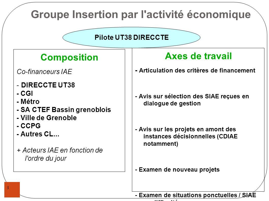 3 Groupe Insertion par l'activité économique Composition Co-financeurs IAE - DIRECCTE UT38 - CGI - Métro - SA CTEF Bassin grenoblois - Ville de Grenob
