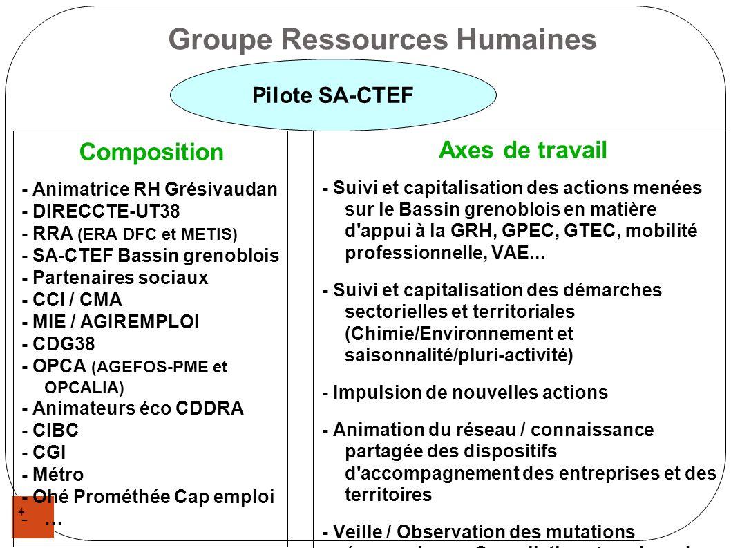 4 Groupe Ressources Humaines Composition - Animatrice RH Grésivaudan - DIRECCTE-UT38 - RRA (ERA DFC et METIS) - SA-CTEF Bassin grenoblois - Partenaire