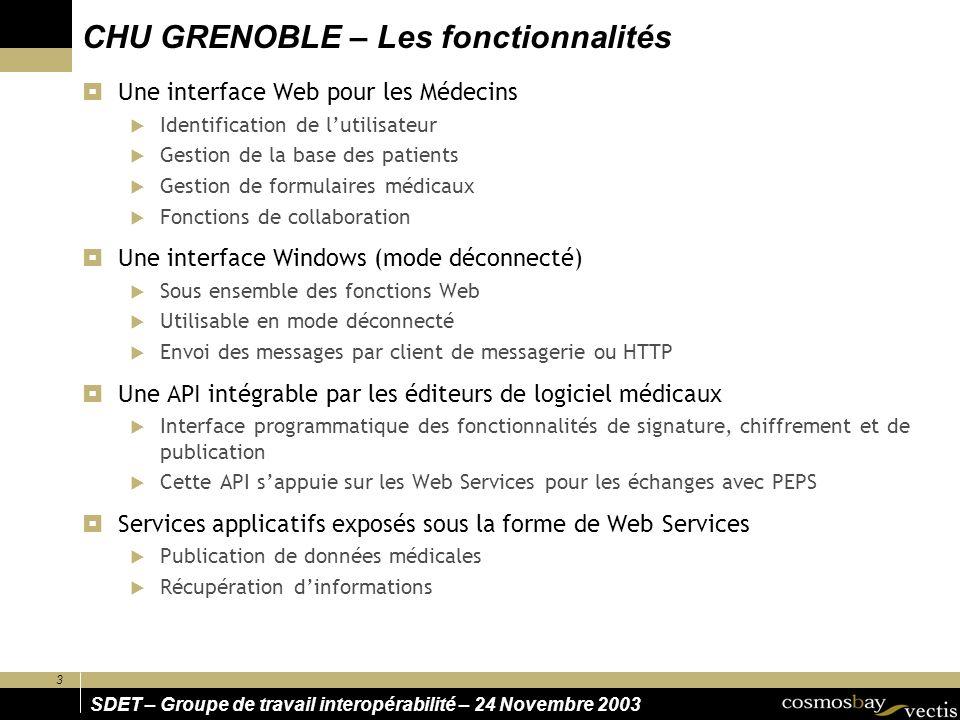 3 SDET – Groupe de travail interopérabilité – 24 Novembre 2003 CHU GRENOBLE – Les fonctionnalités Une interface Web pour les Médecins Identification d