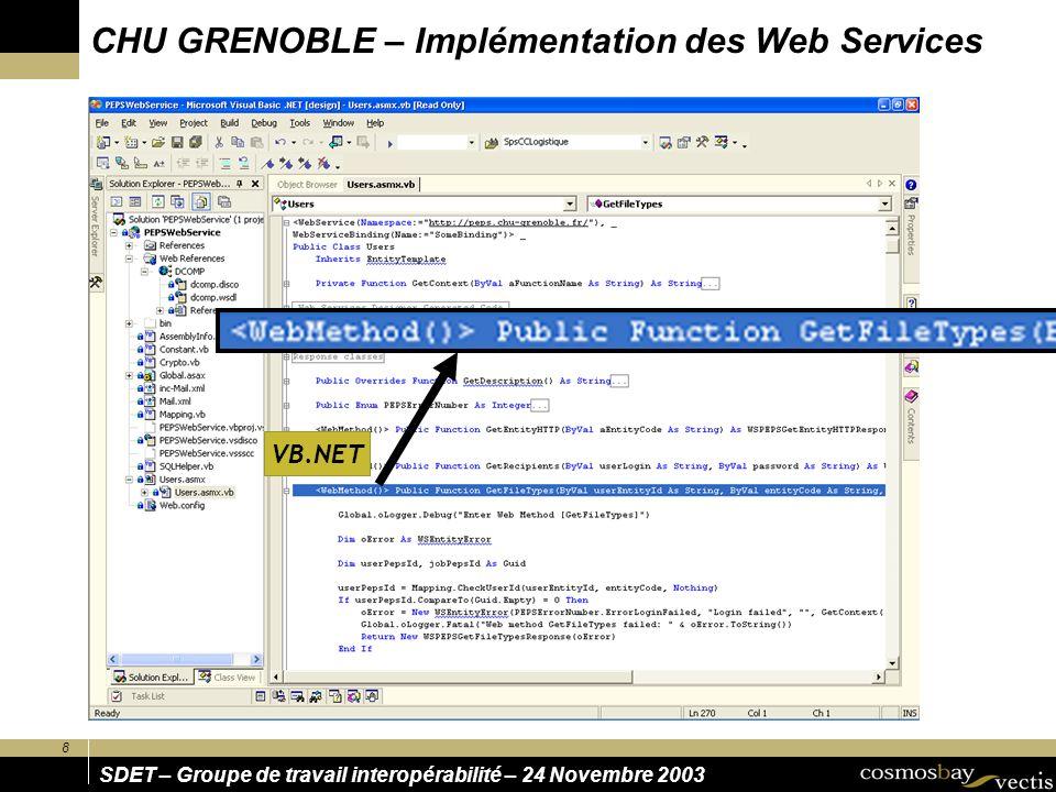 8 SDET – Groupe de travail interopérabilité – 24 Novembre 2003 CHU GRENOBLE – Implémentation des Web Services VB.NET