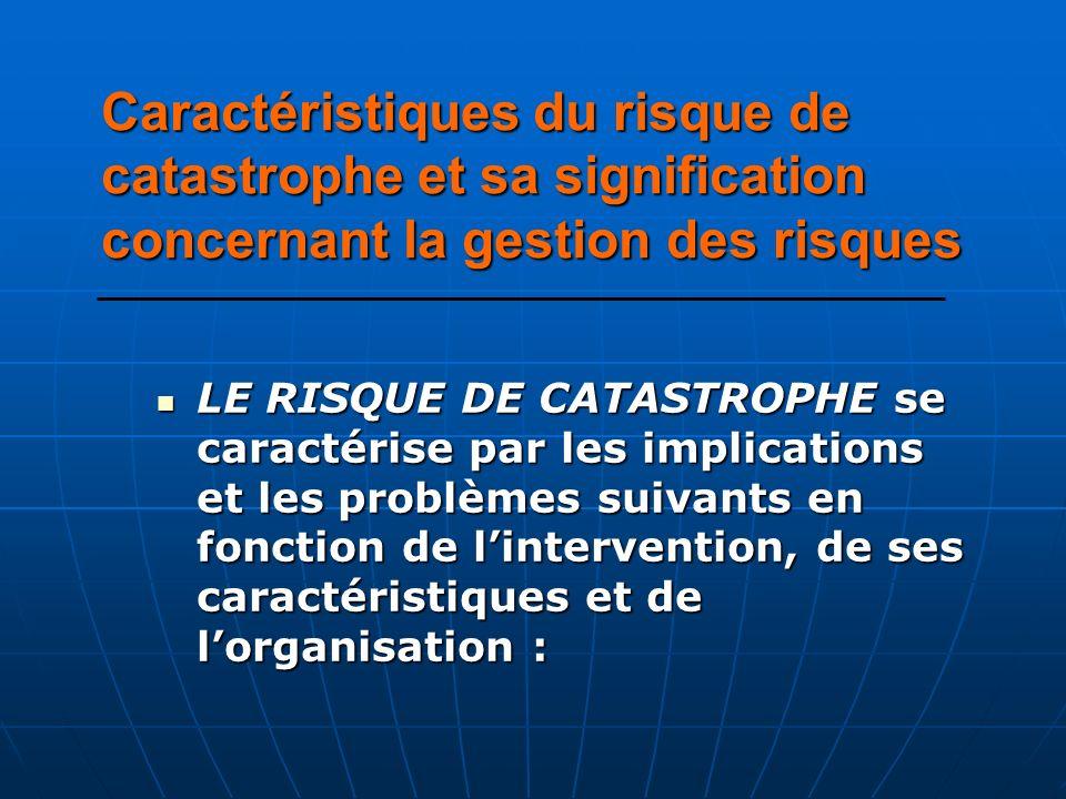 LE RISQUE DE CATASTROPHE se caractérise par les implications et les problèmes suivants en fonction de lintervention, de ses caractéristiques et de lor