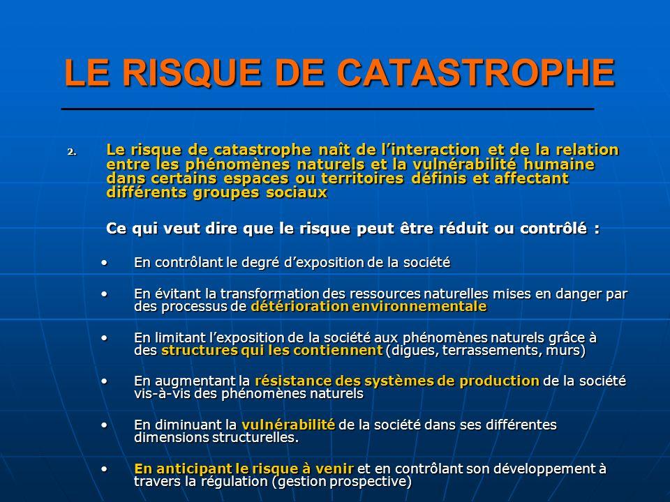 2. Le risque de catastrophe naît de linteraction et de la relation entre les phénomènes naturels et la vulnérabilité humaine dans certains espaces ou