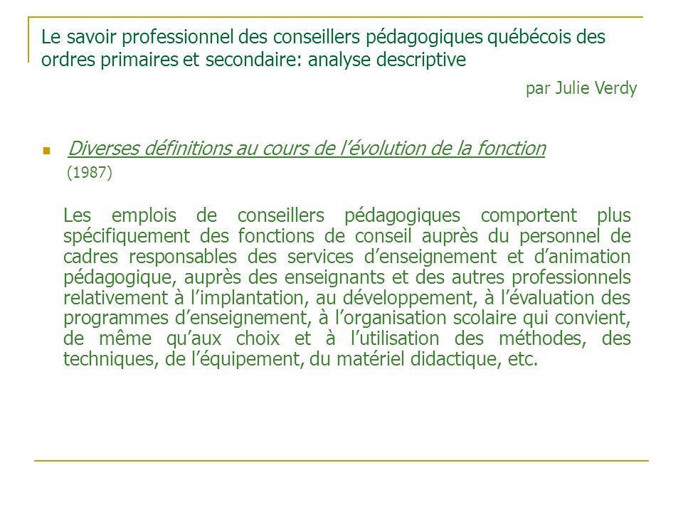 Le savoir professionnel des conseillers pédagogiques québécois des ordres primaires et secondaire: analyse descriptive Diverses définitions au cours d