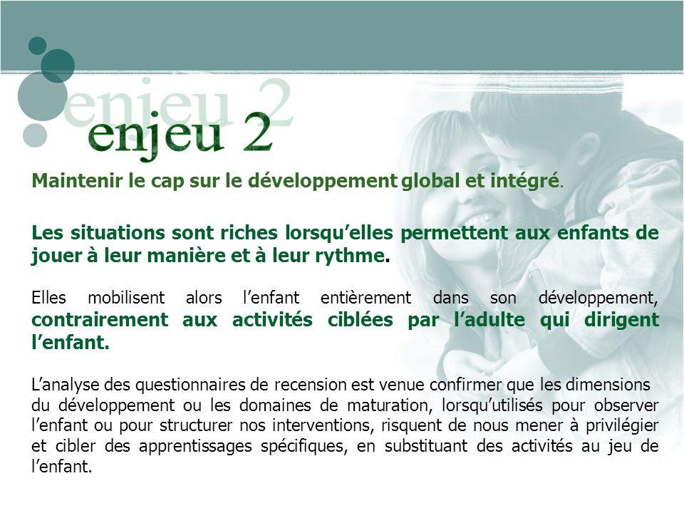 Maintenir le cap sur le développement global et intégré.
