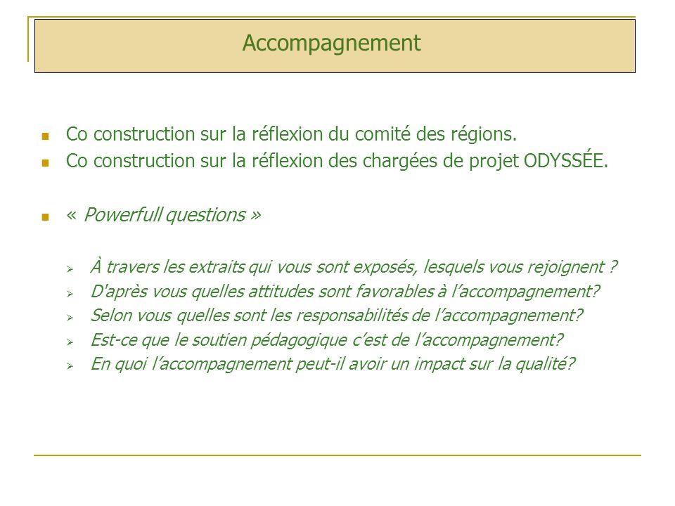 Accompagnement Co construction sur la réflexion du comité des régions. Co construction sur la réflexion des chargées de projet ODYSSÉE. « Powerfull qu