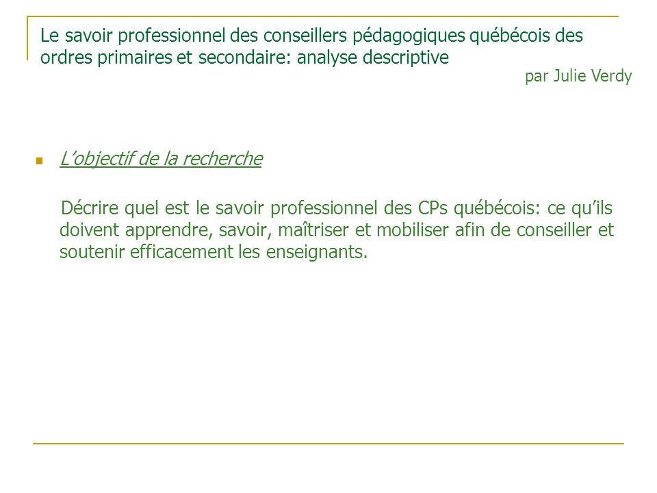 Le savoir professionnel des conseillers pédagogiques québécois des ordres primaires et secondaire: analyse descriptive Lobjectif de la recherche Décri