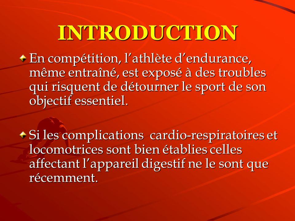 Reflux et vomissements; Douleurs abdominales; Diarrhées impérieuses, réalisant: le « Runners trot » réalisant: le « Runners trot » Saignements de tous types et dabondances variées et dabondances variées MANIFESTATIONS DIGESTIVES ENDURO-INDUITES Les athlètes sont de ce fait contraints à interrompre la compétition pour: