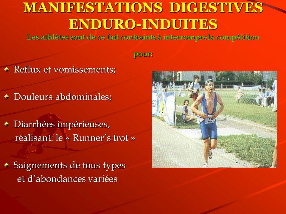 Reflux et vomissements; Douleurs abdominales; Diarrhées impérieuses, réalisant: le « Runners trot » réalisant: le « Runners trot » Saignements de tous