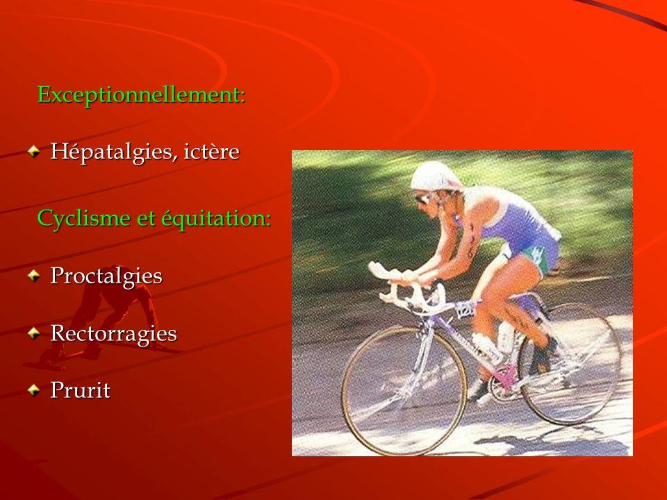 Exceptionnellement: Exceptionnellement: Hépatalgies, ictère Cyclisme et équitation: Cyclisme et équitation:ProctalgiesRectorragiesPrurit