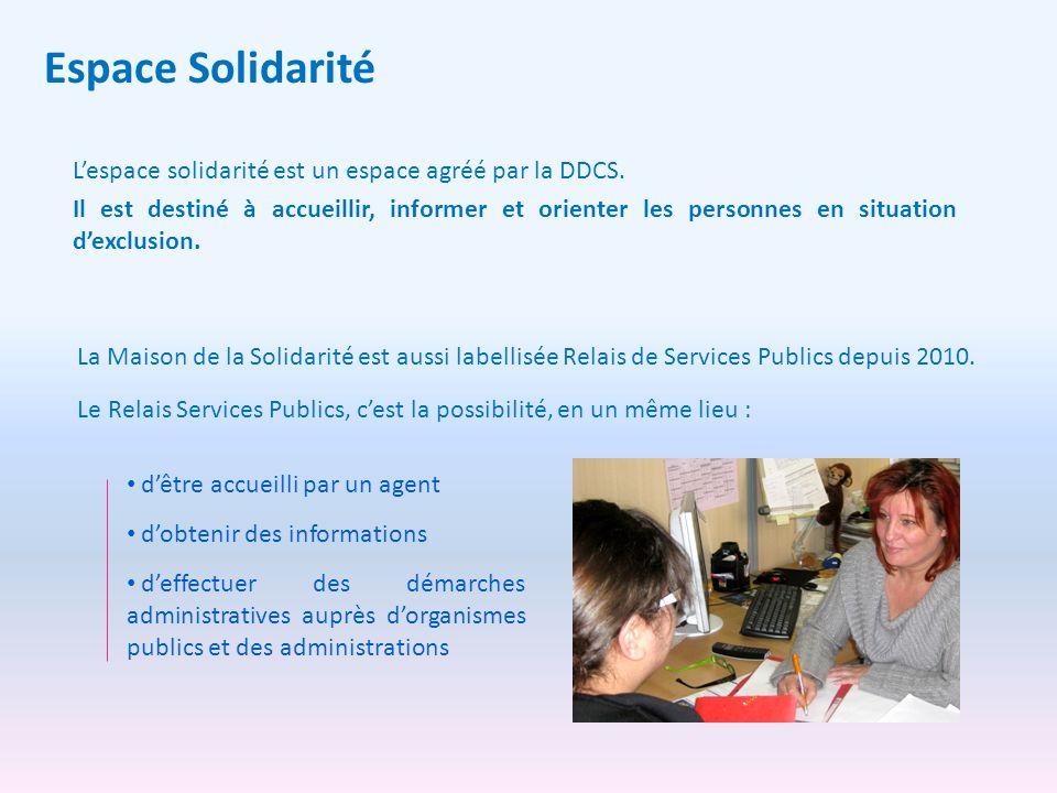Espace Solidarité Lespace solidarité est un espace agréé par la DDCS. Il est destiné à accueillir, informer et orienter les personnes en situation dex