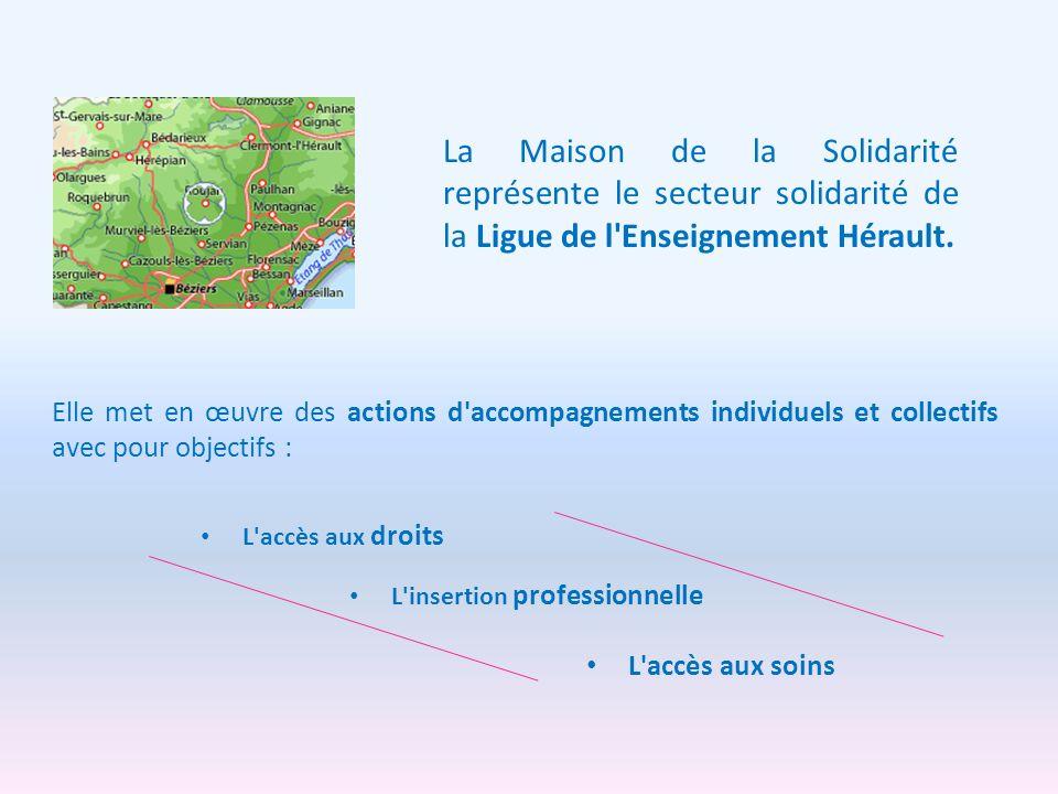 Elle met en œuvre des actions d'accompagnements individuels et collectifs avec pour objectifs : L'insertion professionnelle L'accès aux droits L'accès